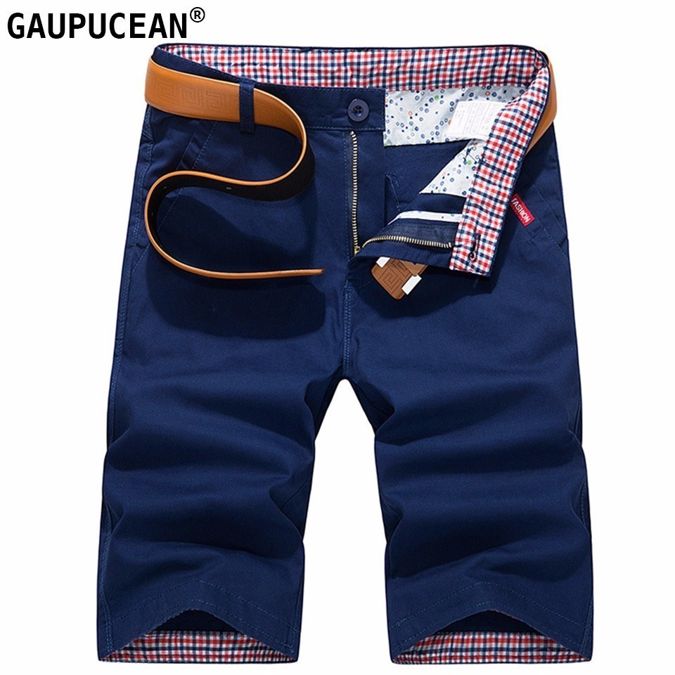 Cotton Knee Length Man Casual Short Pants Straight Summer Male Young Thin Zip Button Khaki Navy Blue Orange Red Men Chino Shorts