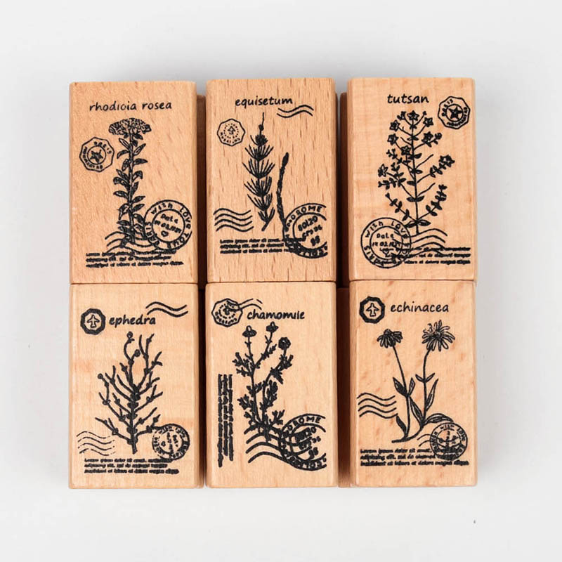 Cute DIY Plant Wooden Seal Photo Album Scrapbooking Diary Rubber Craft  Seal Stamp Stationary Set dmt10768t080