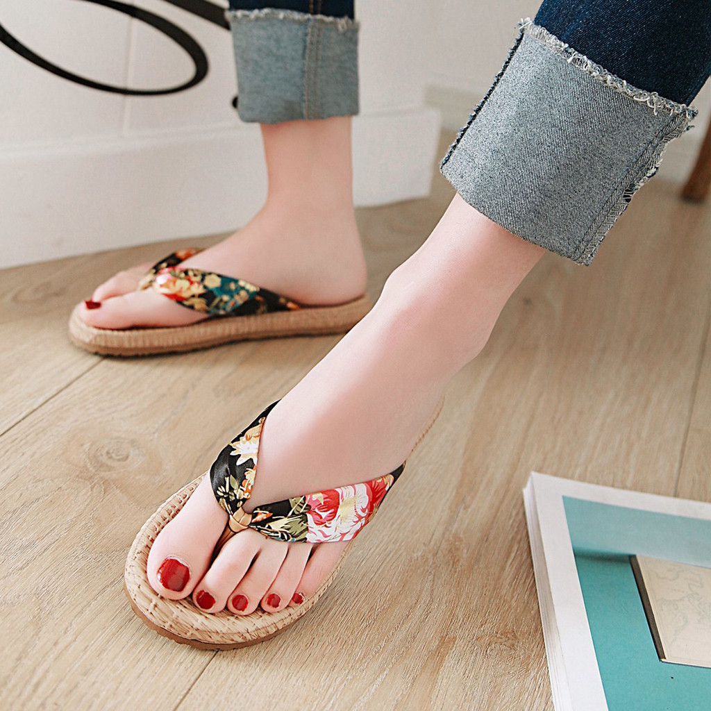 FUN.S Summer High Wedges Slippers Womens Elegant Indoor Outdoor Flat Slipper Summer Slipper Beach Shoes