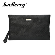 Baellerry Men Vintage Black Solid Long Wallet PU Leather Zipper Porta Handbag Coin Pocket Photo Card Holder
