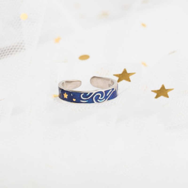 Qevila ואן גוך טבעת אמיתי S925 סטרלינג טבעות כסף עבור נשים פתוח זוג טבעת ירח כוכב טבעת גברים חתונת אירוסין אוהבי טבעת זהב טבעות רומנטי Vanlentines' יום מתנת יוקרה תכשיטי Boho פאנק אופנה טבעת