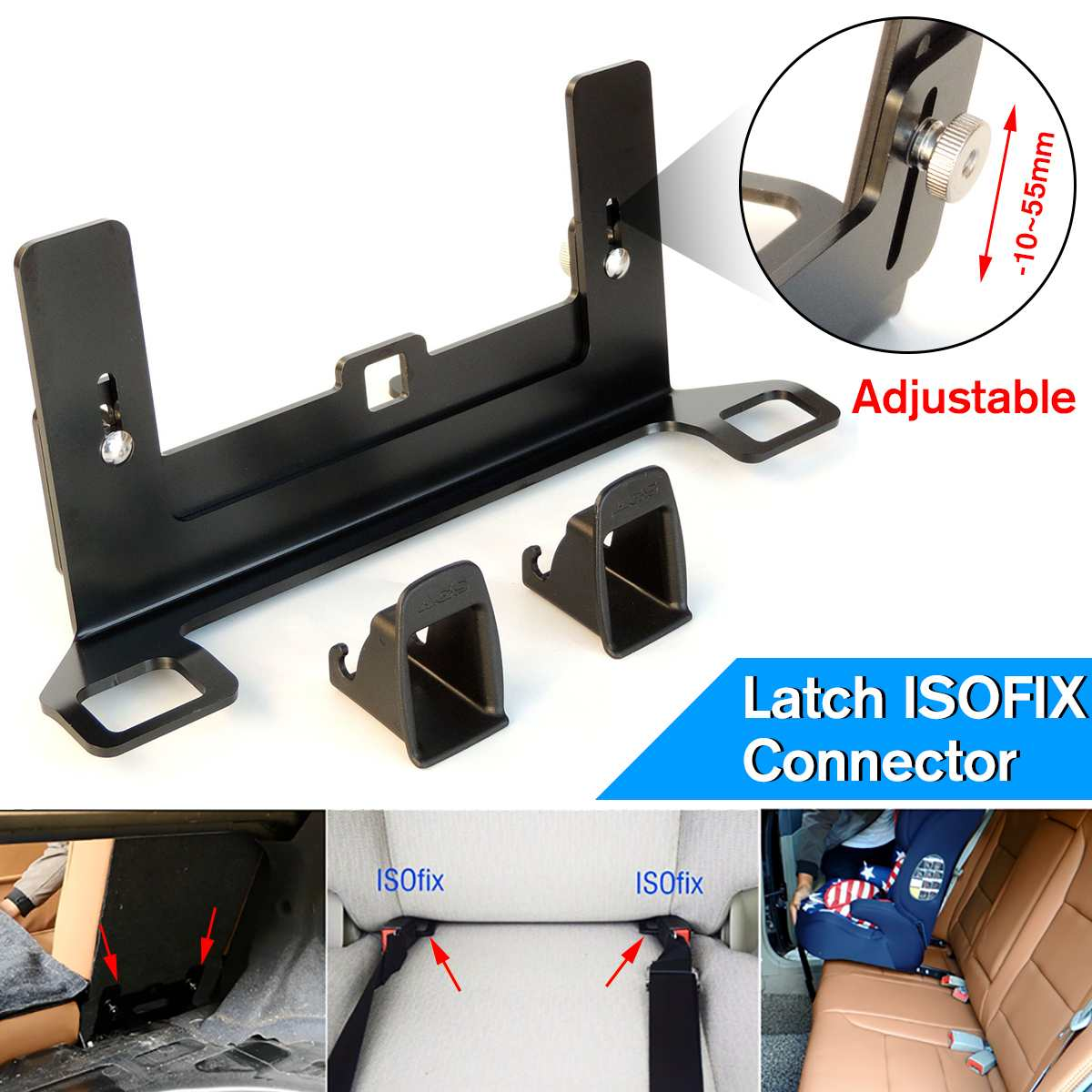 Child Safety Seat Car Belt Steel Buckle Bracket Mount For ISOFIX Latch Connector