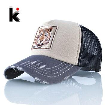 Snapback Hip Hop Trucker Hats For Men Breathable Mesh Bones Summer Tiger Baseball Caps Women Patch Drake Casquette Gorras Hombre 1