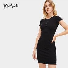 5cb3f57dc3 ROMWE Presse Boutonné Avant Nervure Tricot robe moulante Pour Femme 2019  Sexy Printemps Noir V Cou robe fourreau Mince robe cour.