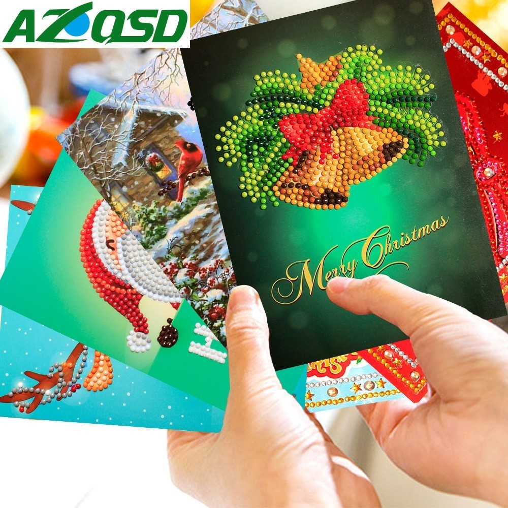 Christmas Greeting.Us 8 39 40 Off Azqsd Diamond Painting Cartoon Christmas Greeting Cards Diamond Mosaic Merry Christmas Paper Cards Craft Gift Mini Santa Claus In
