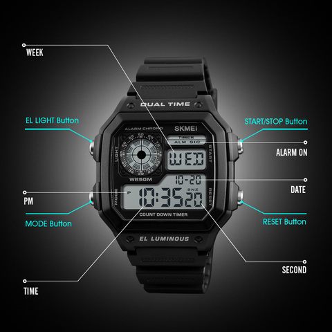 SKMEI LED Digital Watch Men Waterproof Alarm Chronograph Mens Watches Top Brand Luxury Sport Watches For Men Wristwatches Islamabad
