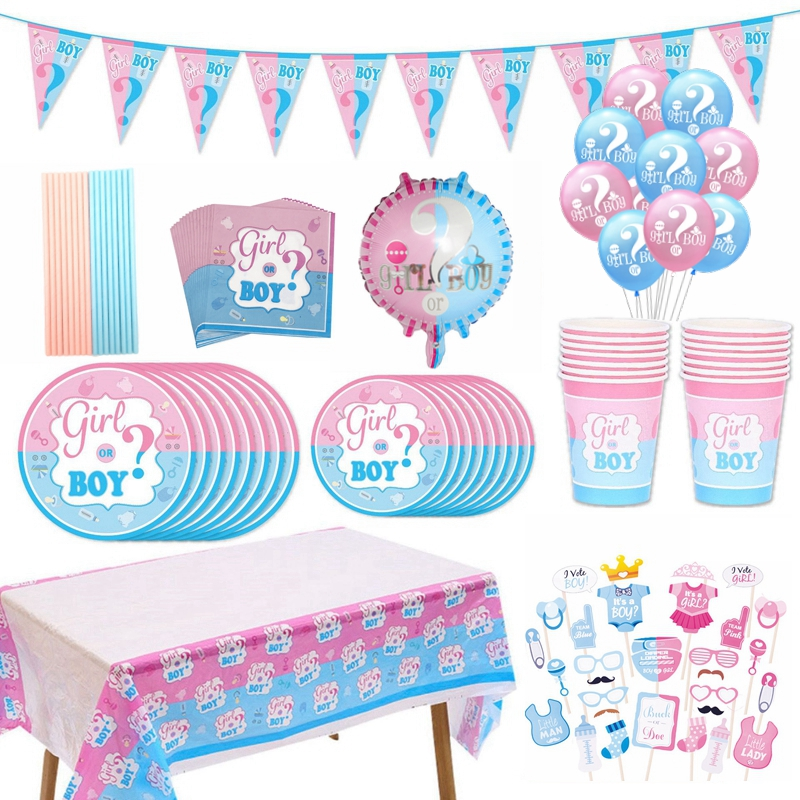 Gender Reveal Party Decoration Boy Or Girl Banner Disposable Tableware Baby Shower Latex Confetti Balloons Photo Prop Supplies 8