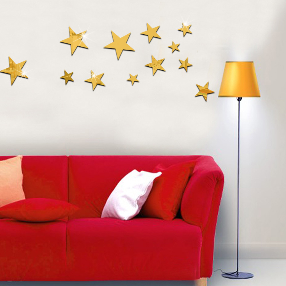 espejo pegatinas pared del dormitorio tv teln de fondo decorativo de acrlico pentagram estrella de techo