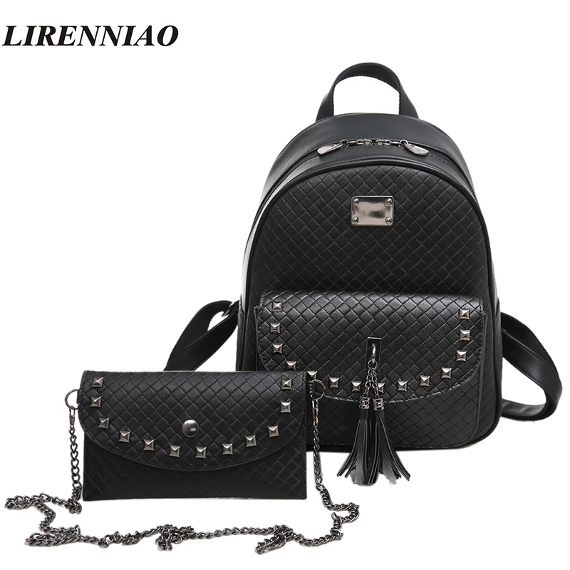 Fashion 2 Pcs Set Women Backpack Female Rivet Casual Daypacks For Girls School Bags Tassel Backpack
