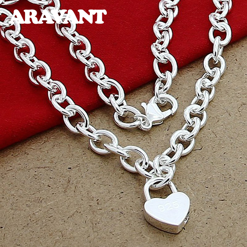 925 Silver Heart Lock Necklaces Chains Women Pendant Necklace Valentines Couple Jewelry Gift