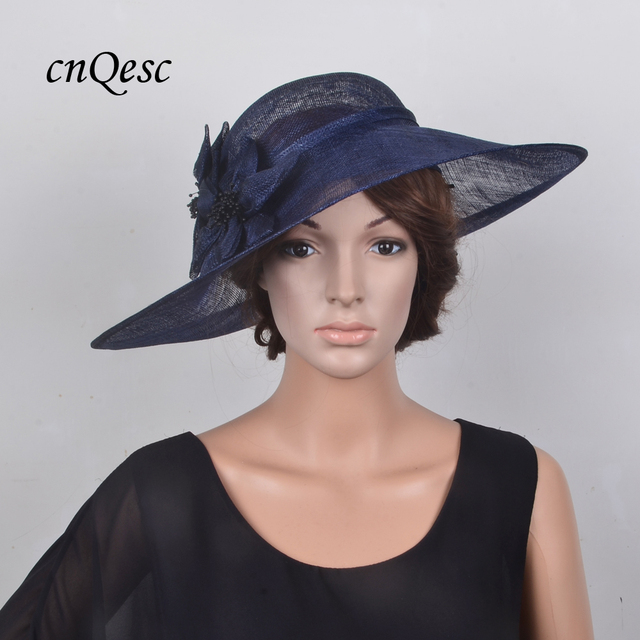 336a382a032 Exclusive design Large saucer Navy Blue Hatinator Sinamay Royal Wedding hat  Fascinator Fedora for Kentucky Derby