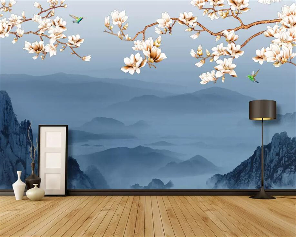 Beibehang Custom photo wallpaper HD Artistic concept hand painted flowers and birds landscape 3d wallpaper carta da parati in Wallpapers from Home Improvement