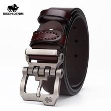 BISON DENIM genuine leather belt for men gift designer jeans belts men's high qu