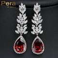 Nova Chegada Damas de Honra Acessórios Bijuterias Índia Red Cubic Zircon CZ Cristal Big Drop Água Brincos Para As Mulheres E231