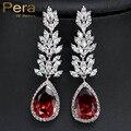 Recién Llegado Damas de Honor Accesorios India Red Cubic Zircon CZ Joyería de Fantasía de Cristal Grandes Pendientes de Gota de Agua Para Las Mujeres E231