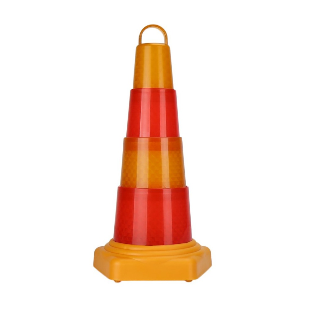 Multifunctional Orange & Red Traffic Cones Emergency Collapsible Flash LED Warning Light Safety Cone Easy Storage Plastic