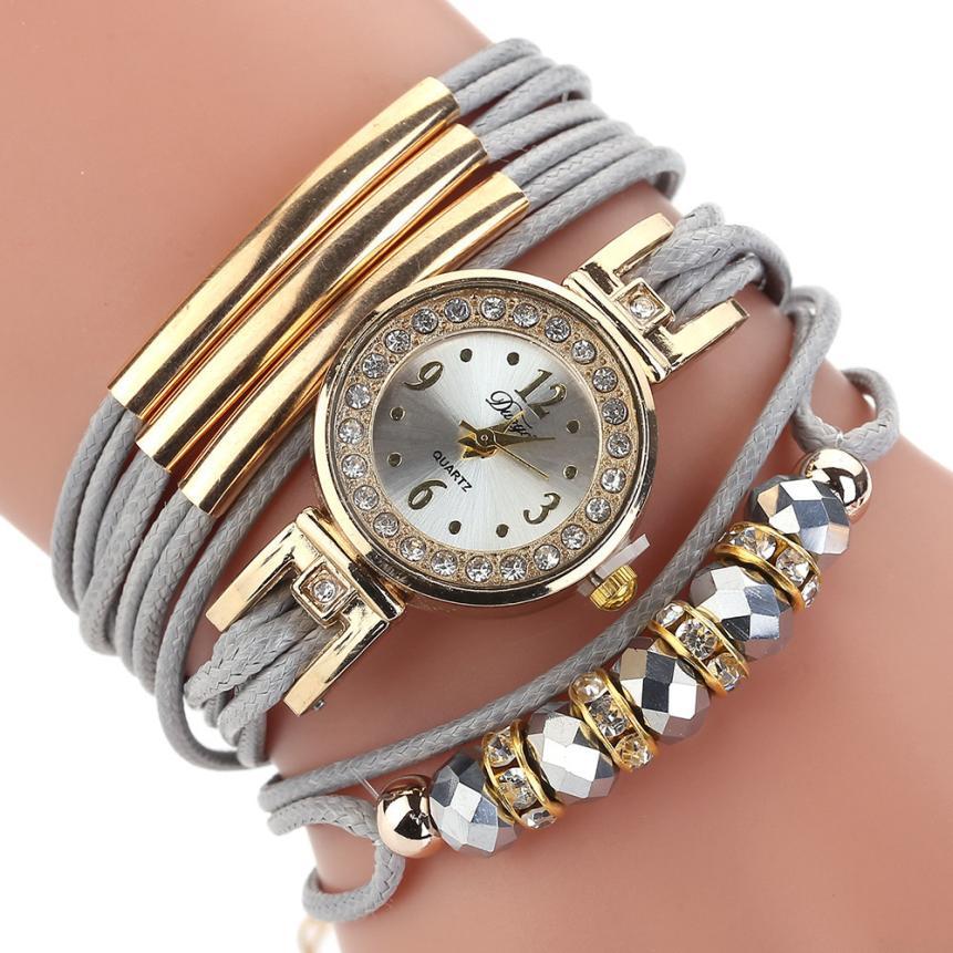 d7d7b6d58508 Quartz Wristwatches Reloj Mujer Fashion Casual Gold dial Women Watch Luxury  2018 Leather Bracelet Watches 18JUA2