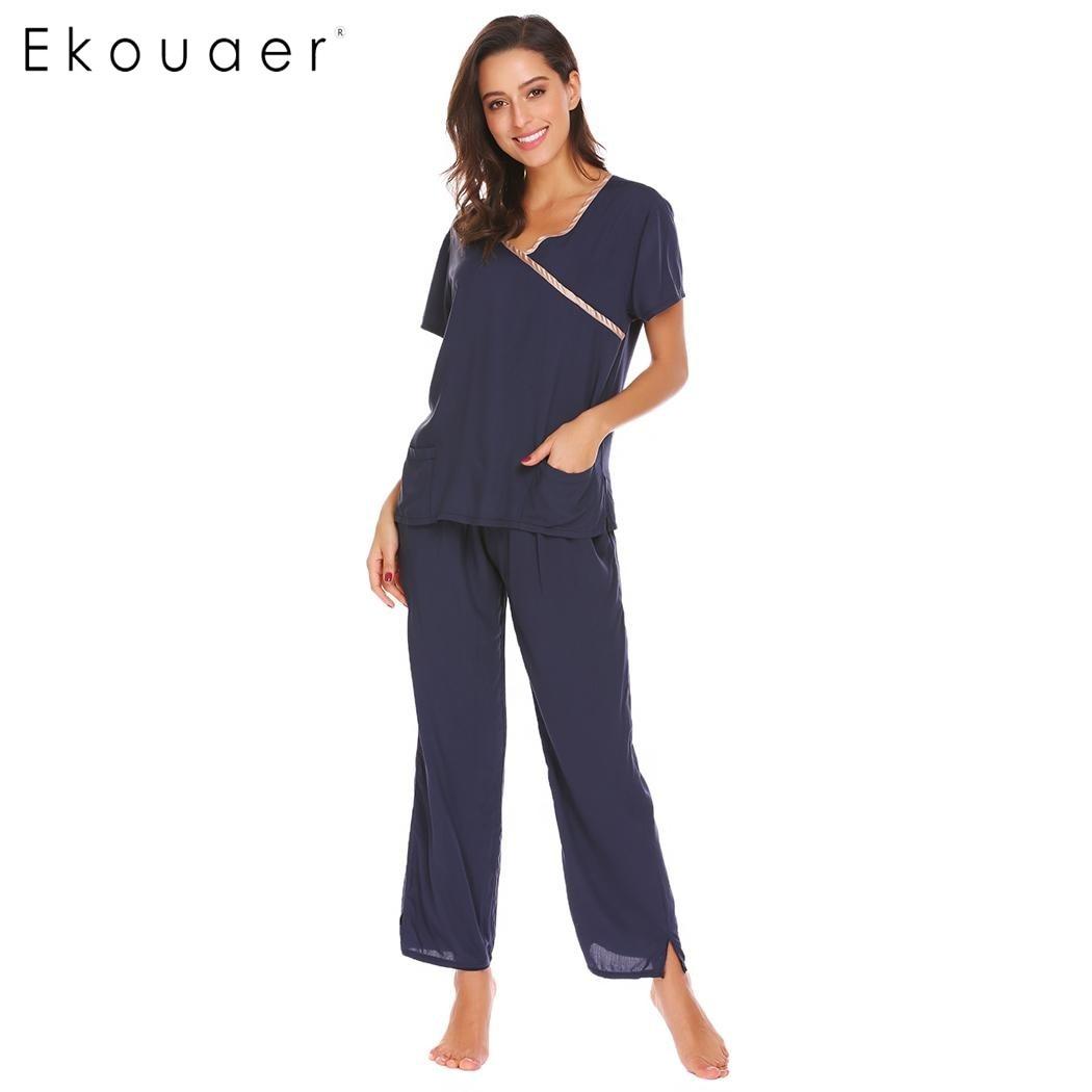 Ekouear Casual Women   Pajamas   Faux Mock Wrap Sleepwear Short Sleeve Shirts Pj Pants Loose Casual   Pajamas     Set   Female Home Clothes