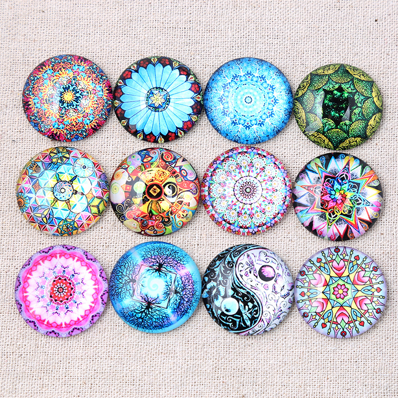 Reidgaller Mix Mandala Pattern Photo Round Dome Glass Cabochons 18mm 25mm 20mm 12mm 14mm 10mm Diy Jewelry Findings