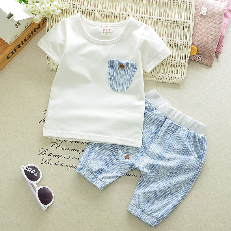 High quality 2017 Summer Baby Boys Suits Casual Style Infant Cotton Clothes Sets Male Children T Shirt+Shorts Fashion Kids Suits