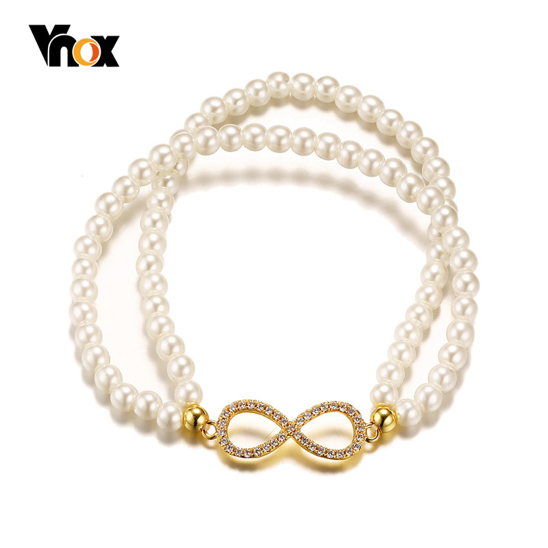 Vnox Vintage Infinity Bracelet Women Double Layer Pearl Beads Chain Fashion Brand Jewelry Anniversary Gift все цены