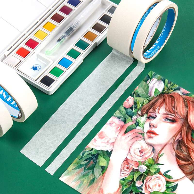 Watercolor Masking Adhesive Tape Painting Textured Paper Tap Cover Glue Sketch Leave White Tool Wrinkle Paper Art Supplies
