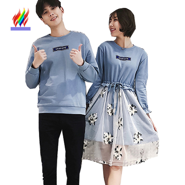 Korea Japan Matching Couple Clothes Lovers Preppy Style Long Sleeve