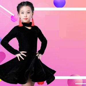 Image 4 - Dzieci dziewczyna wino aksamitne sukienki latynoskie gimnastyka Dancewear konkurs strój do tańca sukienka do tańca towarzyskiego dla dzieci dla dziewczynek