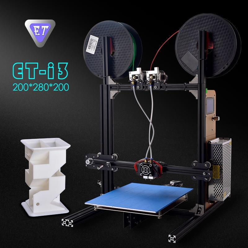 2018 ET i3 Cheap 3D Printer Impresora Imprimante Print 3d DIY Kits Dual Extruder Auto Level Large Size Prusa Frame Reprap geeetech prusa i3 m201 3d printer 2 in 1 out extruder acrylic frame reprap diy printing kits