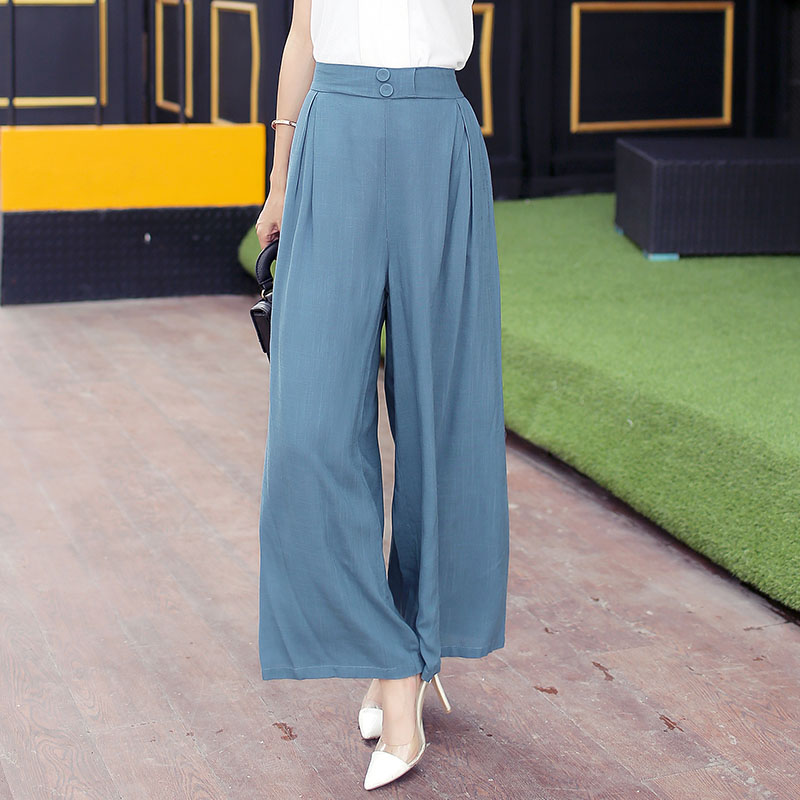 Elegant Office Lady Harem   Pants   Solid Color Loose High Waist   Wide     Leg     Pants   Casual Long Trousers Women 2019 Pantalon Femme