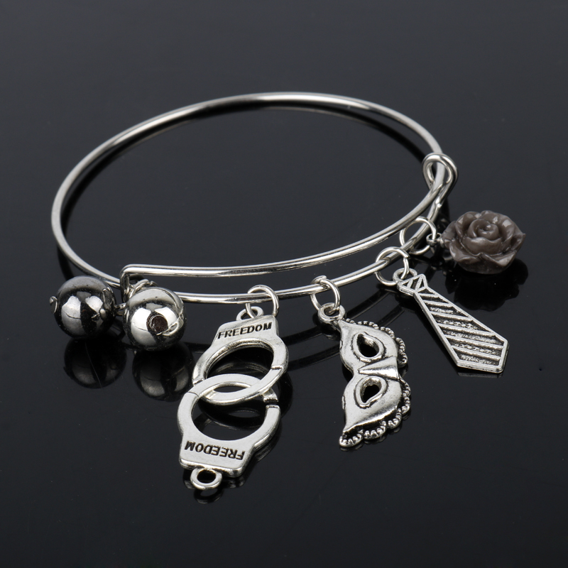 dongsheng Fifty Shades of Grey Charm Bracelet Tie Handcuffs Gray Bandgle Bracelet Accessories 50 Shades Adjustable Wristband -25