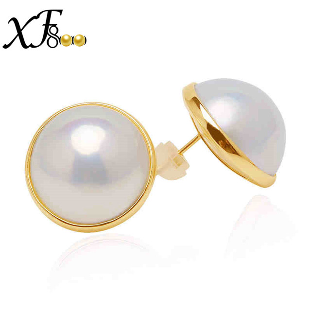 Xf800 14k Yellow Gold Mabe Pearl Stud Earrings Simple Round Sea For Engagement Wedding