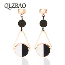 QLZBAO Hot Sale Personality 361l Stainless Steel Jewelry Fashion Black & White Shell Pendant Earrings For Women Wedding Gift(China)