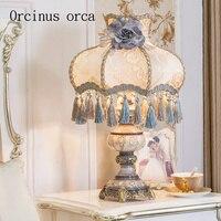 Высокий класс европейской роскоши смолы настольная лампа гостиная ночники французского кружева украшения Настольная лампа Бесплатная дос