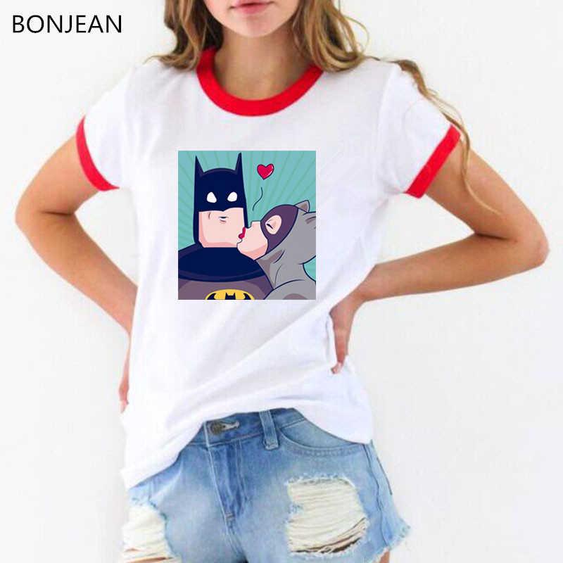 2019 lato topy Cartoon Batman i Catwoman T koszula kobiety harajuku kawaii t-shirt kobiet biały śmieszny t-shirt femme streetwear