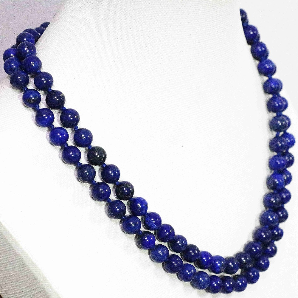 Natural Egyptian blue lapis lazuli chalcedony stone round beads 8mm fashion long chain necklace jewelry 34inch B1484 fashion natural stone 13x18mm lovely oval lapis lazuli stones beads chain necklace for women party wedding jewelry 18inch my5179