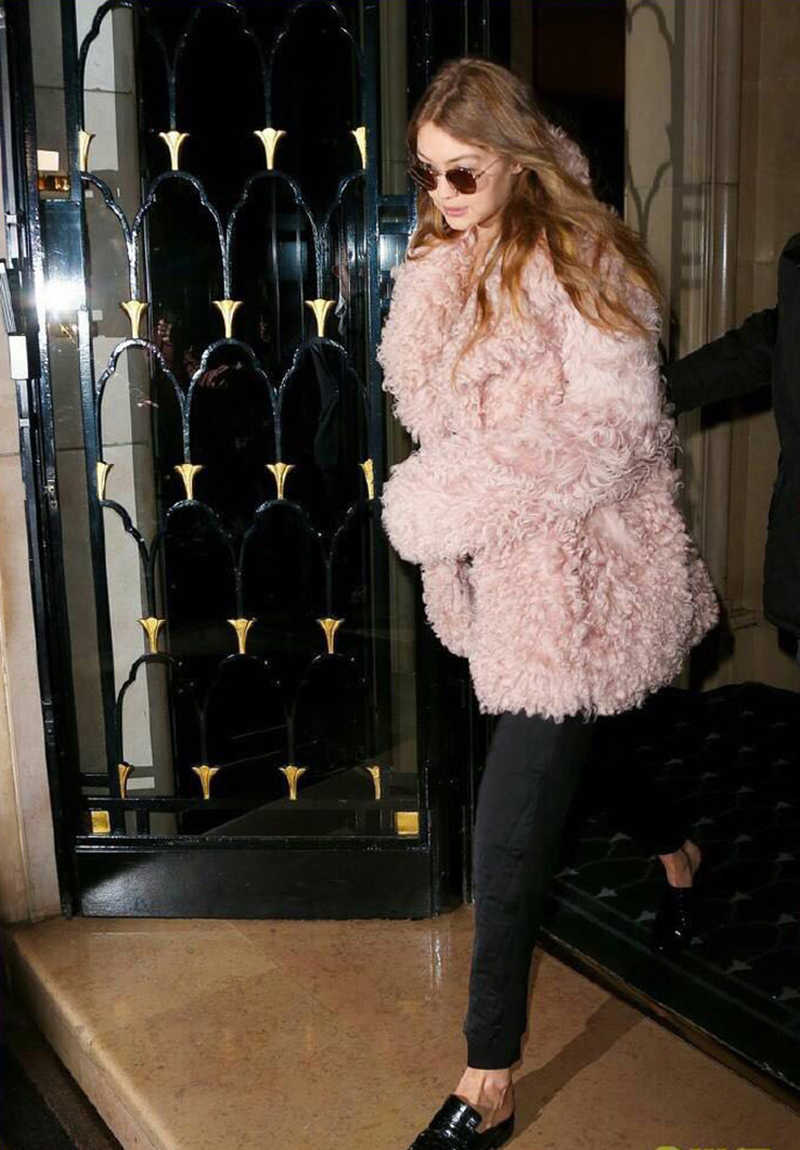 Fluffy longo falso casaco de pele das mulheres de Inverno Engrosse pele falsa streetwear preto rosa Moda Streetwear casaco feminino Cardigan outerwear