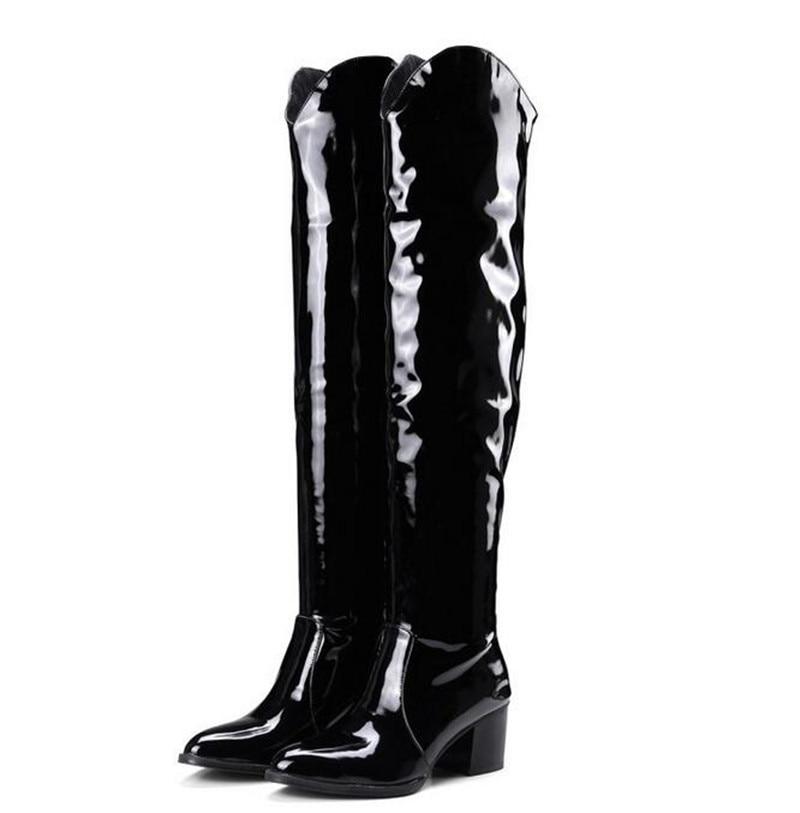 Talon Cuir Haute Noir Genou Plus Épais Sur En Bottes 46 Chaussures Hiver La Femmes Le Snakeskin Verni Femme multi Cuisse Taille 2019 Botas 35 w0Fzqz