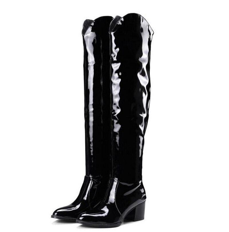 Chaussures La 2019 Rodilla multiple Del Piel Cuero 35 Tamaño Invierno Las Grueso Mujeres Serpiente De Tacón Por Encima Plus Mujer Alta Negro Botas Muslo 46 ZwpTAZxqn