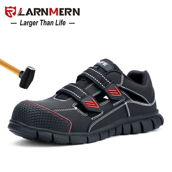 LARNMERN Men's Work Safety Shoes Steel Toe Breathable Lightweight Anti-smashing Anti-puncture Construction Protective Footwear