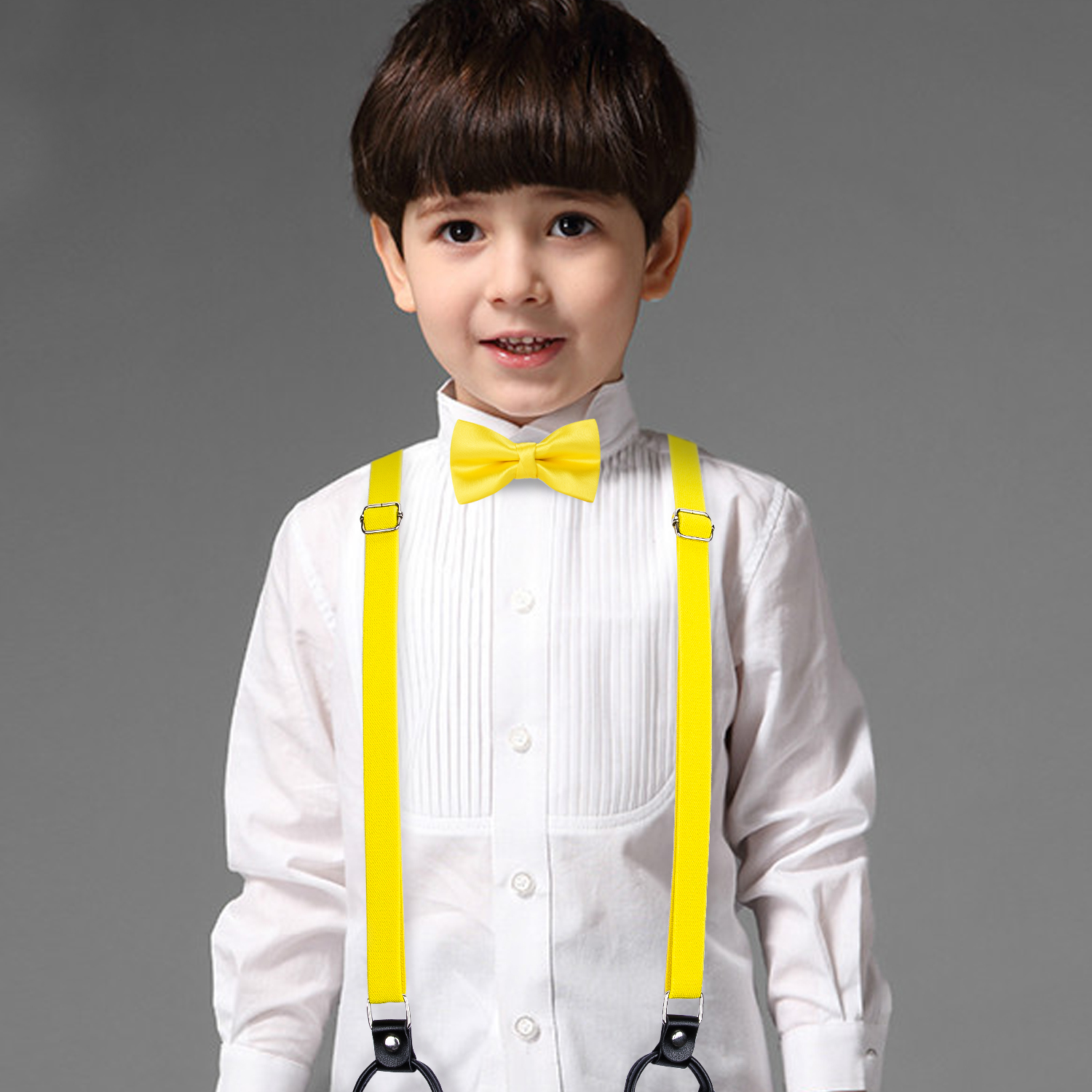 DiBanGu Bow Tie 6 Clips Suspenders For Boy Girls Real Leather Suspensorio 4-7 Years Bowtie Braces For Trousers Yellow BH-0020