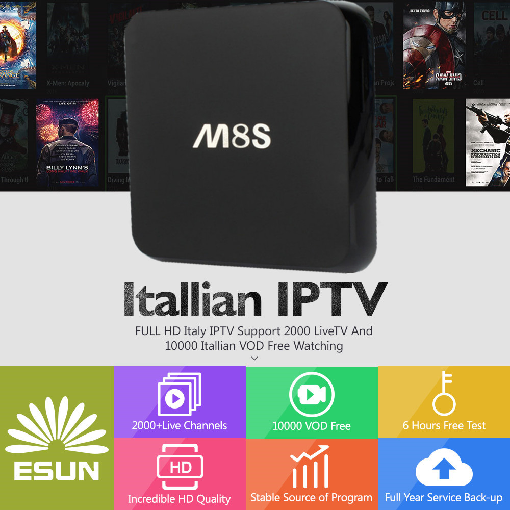 M8S Android TV Box 2G/8G With1 Year ITALYTV Spain/French/Germany Albania/Italy/Portugal/EX-YU/Europe/xx VOD Set top box italy iptv a95x pro voice control with 1 year box 2g 16g italy iptv epg 4000 live vod configured europe albania ex yu xxx