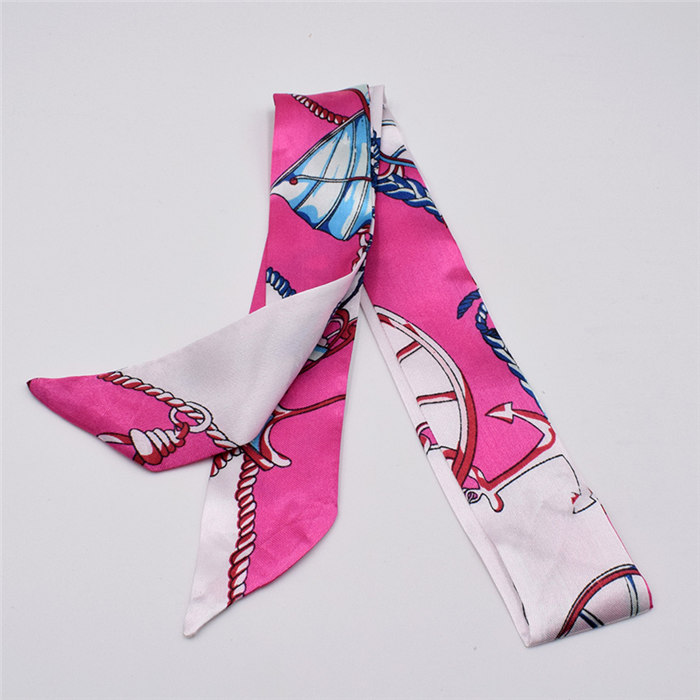 HTB1cz.Pdk9E3KVjSZFGq6A19XXaH - Small Silk Scarf For Women New Print Handle Bag Ribbons Brand Fashion Head Scarf Small Long Skinny Scarves Wholesale
