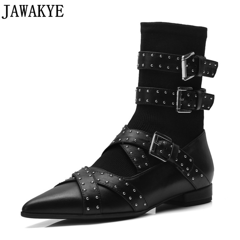 Flat heel Women Boots rivets studded Ankle Boots Pointy toe short Booties three Strap buckled 2018 fall winter sock shoes все цены