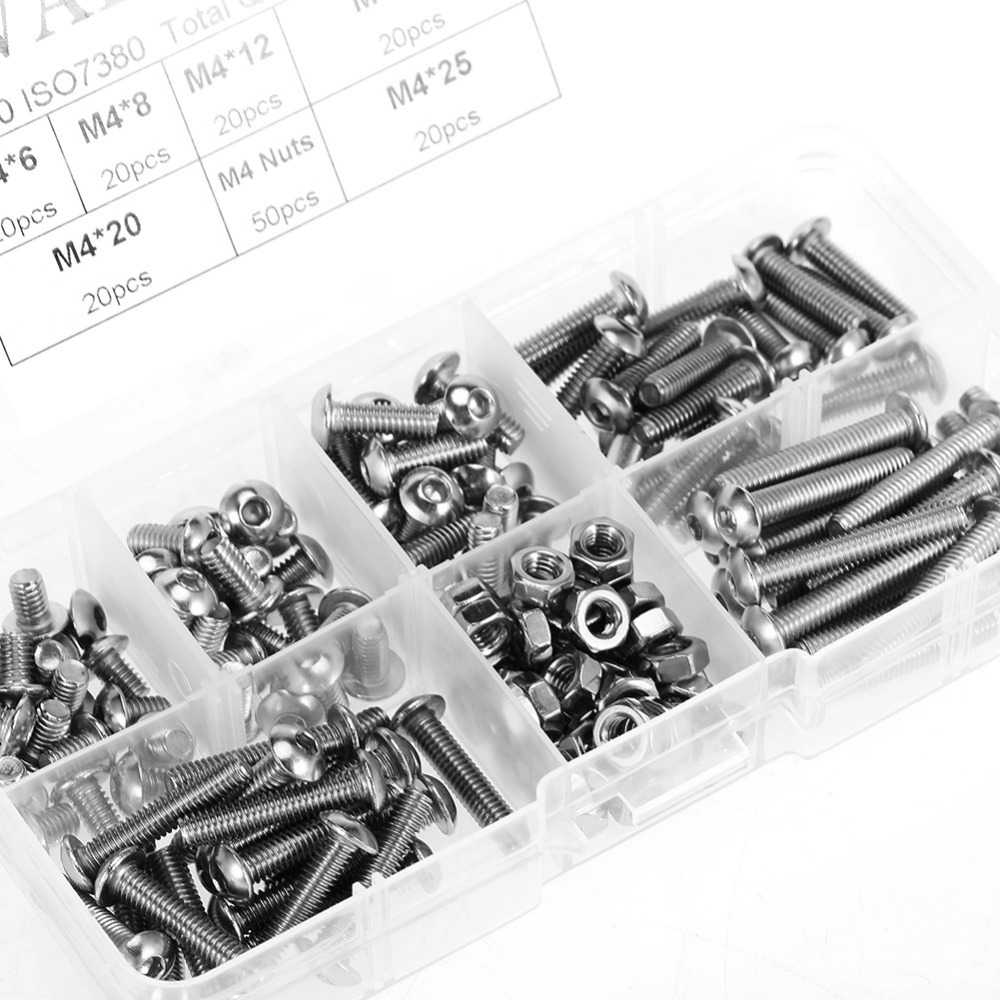 170pcs/set M4 Hex Socket Button Head Screws Bolts and Nuts Stainless Steel SS304 M4 Screws Nuts Assrotment Set Fastener Hardware