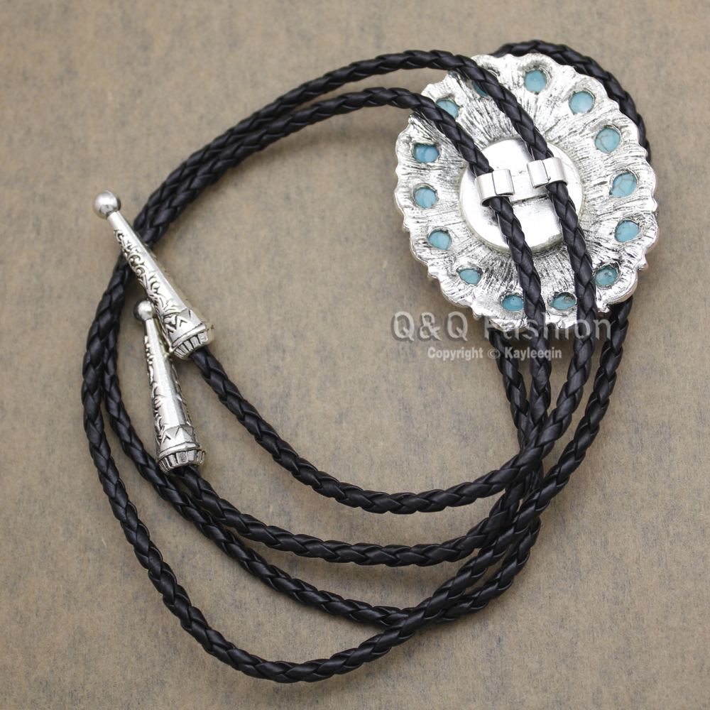 Neue Ankunft Mode Südwesten Silber Indischen Türkis Zuni Navajo Leder Neck Bolo Tie Line Dance Hoch Gute Qualität Schmuck