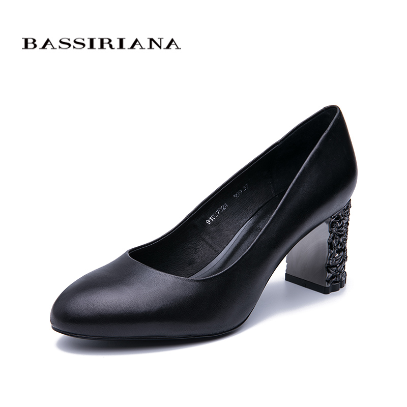 BASSIRIANA2019 new classic pumps high heels shoes woman Genuine leather Big size 35-40 Round toe Black