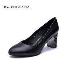 BASSIRIANA2019 new classic pumps high heels shoes woman Genuine leather Big size 35-40 Round toe Black