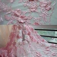 Pembe 3D embroidere Için Dantel Kumaş Gelinlik Gipür Dantel diy el yapımı bez perde dekoratif kumaşlar