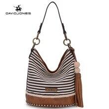 DAVIDJONES Bolso de las señoras Del bolso del Cubo de la Cadena De La Pu bolso de Hombro de Lujo Bolsos Famoso Diseñador de moda Top-handed bag Venta-vendedor